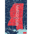 mississippi state detailed editable map vector image vector image