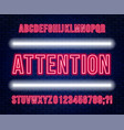 neon red font bright capital letters with numbers vector image vector image