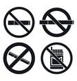 no smoking pub icon set simple style vector image vector image