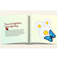 Open book with flowers and butterfly vector image vector image