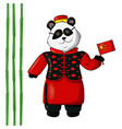 panda in chinese costume vector image