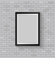 picture frame on gray brick wall vector image vector image