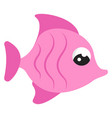 pink cute fish on white background vector image vector image
