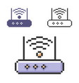 pixel icon wireless fidelity router in three vector image vector image