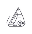 sailboat line icon concept sailboat linear vector image vector image