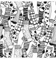 Seamless black white pattern of doddle socks for vector image vector image