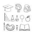 set education supplies to school study vector image
