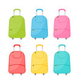 set of six multicolored wheeled travel bag vector image vector image