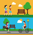 set people various activities couple runner and vector image vector image