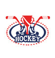 sticker with hockey skates and sticks equipment vector image