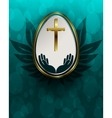 turquoise background with Easter egg vector image vector image