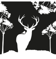 vecrot black deer in the woods stencil vector image vector image