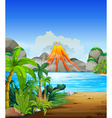 Volcano eruption behind the lake vector image