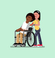 voluntire female helps to disabled vector image vector image