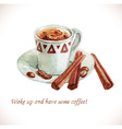 Watercolor coffee cup with coffee beans vector image