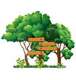 wooden sign in the garden vector image vector image