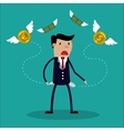 Businessman has no money - a man in search of vector image
