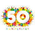 50 years anniversary paper colorful logo vector image vector image