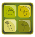 A cube with doodle images of vegetables vector image vector image