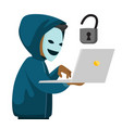 a hacker holding a laptop vector image