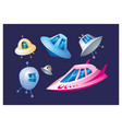 alien ships set vector image