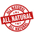 all natural round red grunge stamp vector image vector image