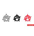 anarchy symbol icon 3 types color black