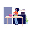 baking workshop girl cooking pie bakery kitchen vector image vector image