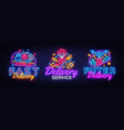big set neon signs theme delivery fast delivery vector image