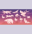 clouds in shape animals on sunset sky vector image vector image