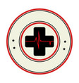 color circular emblem with cross with line vital vector image