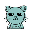 color enamored cat adorable feline animal vector image vector image