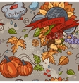 Colored contour seamless texture autumn theme vector image vector image