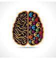 Conceptual idea -Brain with euro symbol vector image vector image