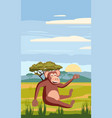 cute cartoon monkey on background landscape vector image