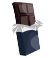 dark chocolate in dark blue wrap paper on white vector image