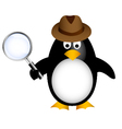 detective penguin with magnifying vector image