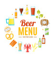 drinking beer round design template banner card vector image