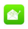 envellope with graph icon digital green vector image vector image