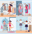 girl looking in mirror women in stylish dressing vector image