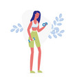 girl working out with dumbbells flat vector image vector image