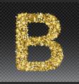 gold glittering letter b shining golden vector image vector image