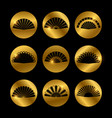 golden icons with fans black silhouette vector image vector image