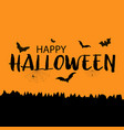 happy halloween greeting card with bats vector image vector image
