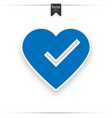 heart and tick icon in blue color vector image