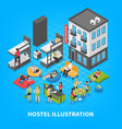hostel isometric composition vector image vector image