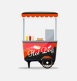 hot dog cart kiosk on wheels retailers fast vector image vector image