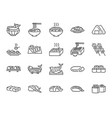 japanese food line icon set 1 vector image