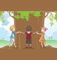 kids hugging tree vector image