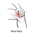 Knee pain Hands holding leg